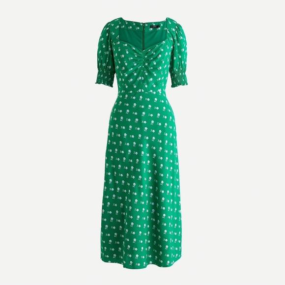J.crew Puff-sleeve midi dress, floral print, 0